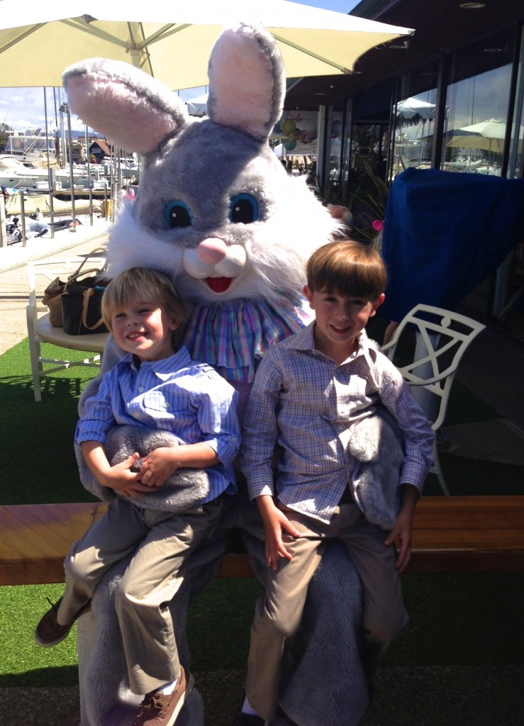 Grandsons with the Easter Bunny today