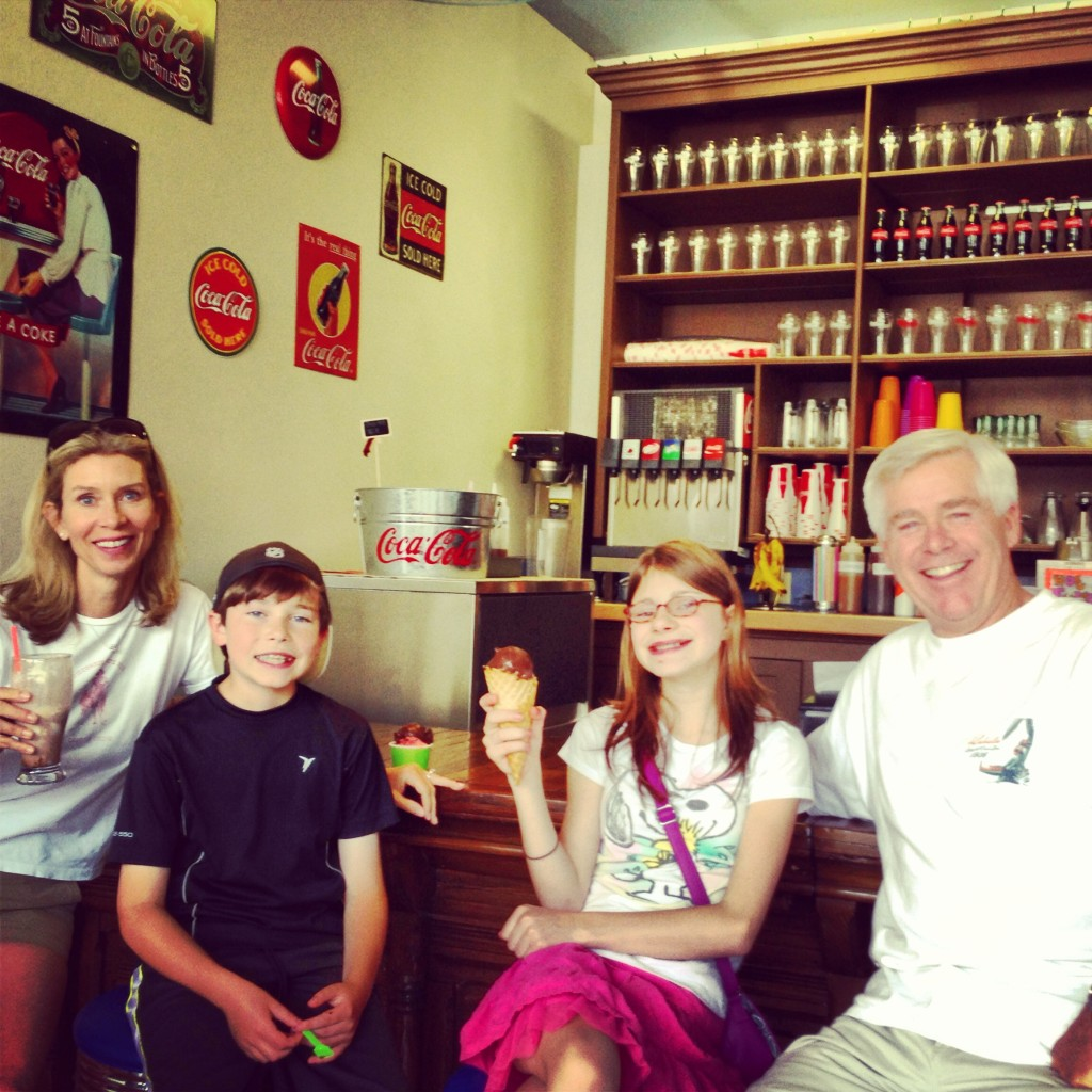 With our nephew and niece for ice cream.