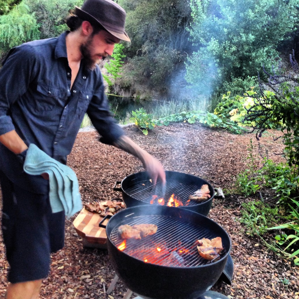 Chef Zach at work over the BBQ